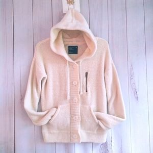 American Eagle Knit Zipper Up Hooded Sweater L